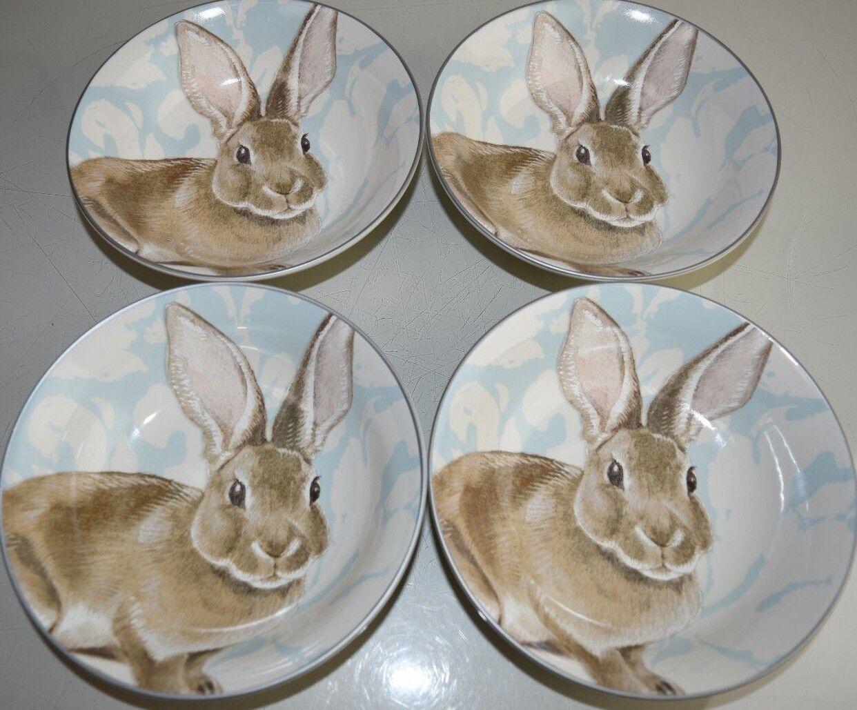 Nouveau Williams Sonoma 4 pieces Set damassée Bunny Soupe Pates BOLS BLEU BLANC 24 DISPO