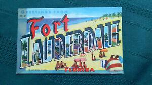 FORT-LAUDERDALE-Florida-LARGE-LETTER-Postcard-Original-Vintage-Linen