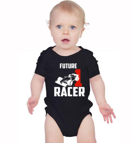 Black or white. Future formula racer baby grow baby vest bodysuit