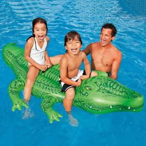 Image Is Loading New INTEX Giant Inflatable Crocodile POOL TOY INFLATABLE
