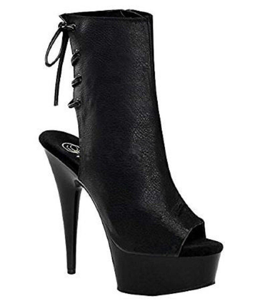 Pleaser DELIGHT-1018 Clubwear, Exotic Dancing, 6  Platform Ankle Boots Blk Faux.