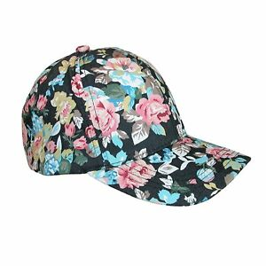 51b71a5e7b90a2 D&Y Women's Floral Print Black Baseball Cap Hat 100% Cotton Canvas ...