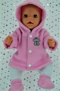Play-n-Wear-Dolls-Clothes-To-Fit-17-034-Baby-Born-PINK-JACKET-TIGHTS-BOOTIES