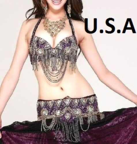 FREE GIFT Belly Dance Costume Outfit Bra Top Hip Belt Set USA  Fast Shipping