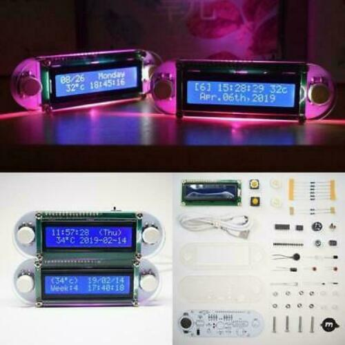 Candlelight Effect LCD1602 Vibration Clock DIY Kit Electronic Learning Kit Gifts
