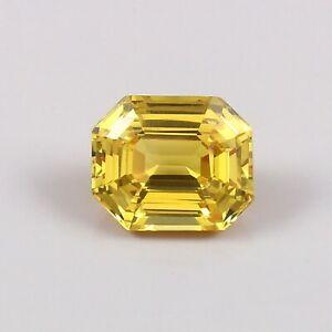 AAA Natural Flawless Ceylon Yellow Sapphire Loose Radiant Cut Gemstone 4.45 Ct