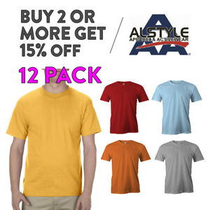 12-PACK-AAA-ALSTYLE-1301-MENS-CASUAL-T-SHIRT-PLAIN-SHORT-SLEEVE-SHIRTS-COTTON