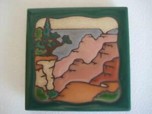 Masterworks Canyon Tile Coaster Trivet 4 x 4 in. Green Brown