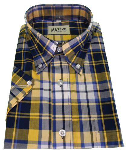 Mazeys Mens Navy//Yellow 100/% Cotton Short Sleeved Shirts