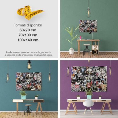 QUADRO Moderno Wall Art Graffiti Stampa su tela Canvas BANKSY Collage