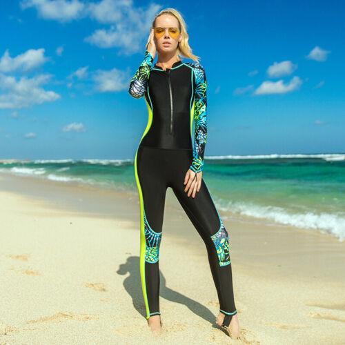 Women Sun-proof Printed One Piece Zip Up Long Sleeve Wetsuit Swimsuits Swimwear