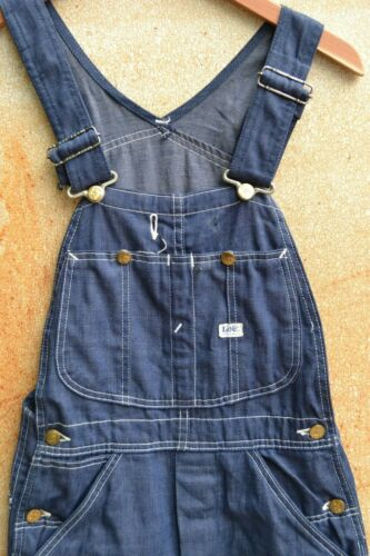 Vintage Lee Overalls Dark Denim 1970's 26x28