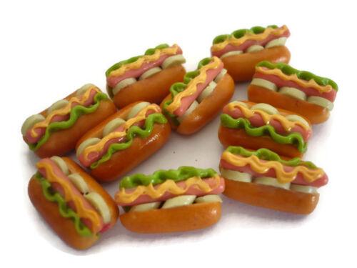 10 Loose Hot Dog Mustard Vegetable Fast Food  Dollhouse Miniatures