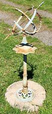 "Cast Iron 47"" Verdigris with Rust Garden Sundial & Sphere Armillary & Stand"