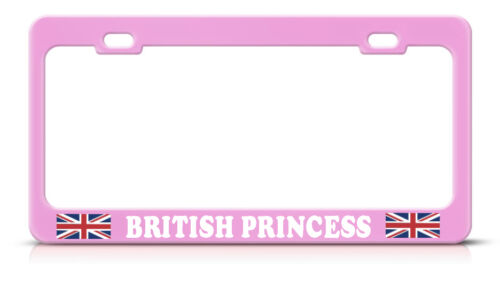 UNION JACK BRITISH PRINCESS PINK Metal Heavy License Plate Frame Tag Border