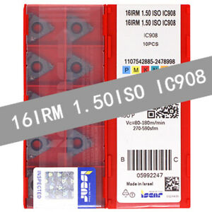 ISCAR-16IRM-1-50ISO-IC908-Threaded-blade-Carbide-Inserts-10Pcs
