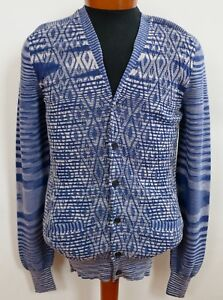 1fa4bf8b3842 NWT Authentic MISSONI Blue 100% Cotton Knitted Cardigan Sweater M