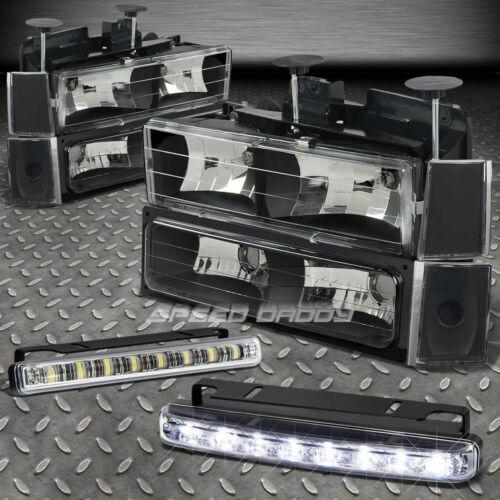 BUMPER+CORNER LIGHT+BLACK HOUSING HEADLIGHTS LED FOG LAMP FITS 88-93 CHEVY CK