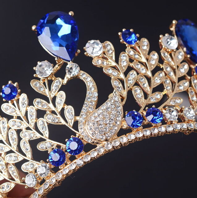 7cm High Adult Sapphire Blue Drip Crystal Swan Tiara Wedding Prom Party Pageant