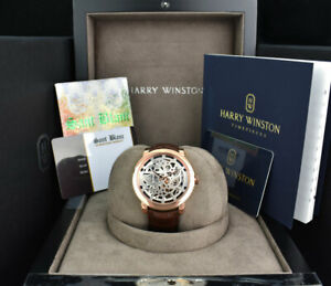 2020-HARRY-WINSTON-Rose-Gold-Midnight-Skeleton-Box-Card-MIDAHM42RR001-SANT-BLANC