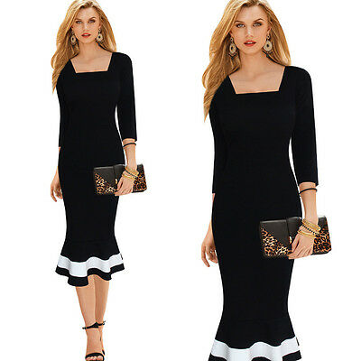 Womens Sexy Bodycon Mermaid Wear to Work Formal Cocktail Party Pencil Midi Dress