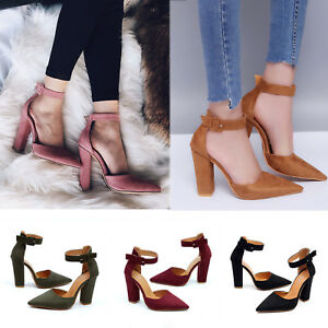 99a70f4dbbf New Womens Pointed Toe Sandals Block High Heels Pumps Ankle Strappy ...