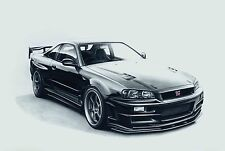 Nissan Skyline R34 GTR 30x20 Inch Canvas - Framed Picture Print Art