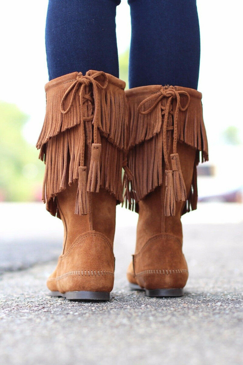 Women's Minnetonka 2-Layer Fringe ZipOn Boot Brown 1682 Size 6