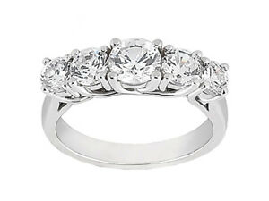 Genuine-0-49ct-Diamond-Wedding-Band-Ring-Platinum-Round-Cut-F-VS1-Prong-Setting