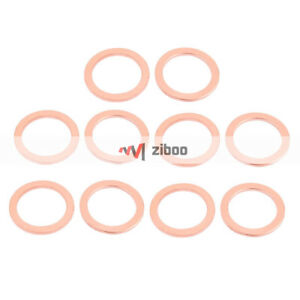 10 Pcs 32mm x 24 mm x 2 mm Flat Ring Copper Crush Washer Sealing Gasket Fastener