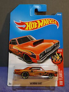 Hot Wheels New 2017 Flames 68 Dodge Dart Orange Gold Muscle Car