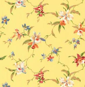 Wallpaper-Designer-Blue-Burgandy-Pink-Green-Tan-White-Orchid-Trail-on-Yellow