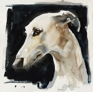 Acuarela * watercolor * Perro Galgo   * Pintura original