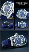 Designeruhr Chenevard Since 1928 Swiss Made-handaufzugswerk - Azur Blau