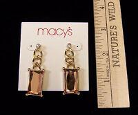 Macys Goldtone Metal Dangle Chain Earrings Facet Peach Stone Rhinestone Jewelry
