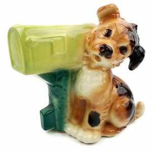 Vtg-ROYAL-COPLEY-Large-1950s-Ceramic-Puppy-Dog-And-Mailbox-Planter-Green
