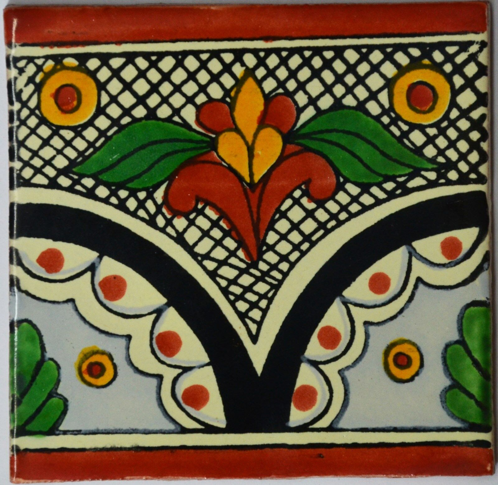 C261- Mexican Handmade Talavera Clay Tile Folk Art 4x4