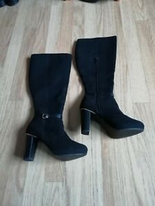 New-Look-black-heeled-long-boots-size-UK-4-new-without-tags