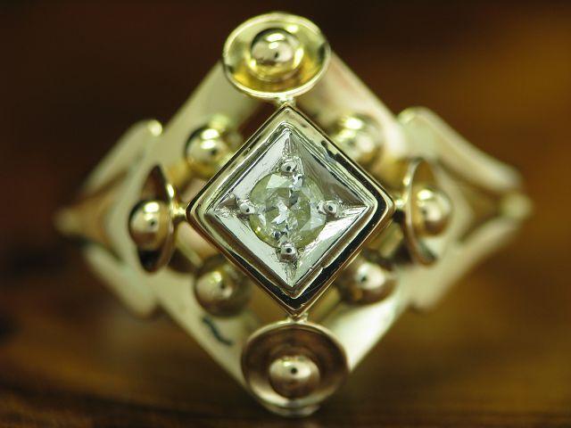 14kt 585 gold BICOLOR ART-DECO RING MIT 0,11ct BRILLANT SOLITÄR BESATZ   RG 55