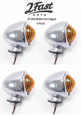 2FastMoto Motorcycle Turn Signals Chrome Dual Filament Front Rear Fits Most