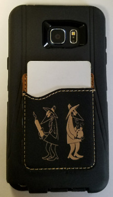 CIA SOG Special Ops Group Jester Leather Cell Phone Wallet Holder 3M Adhesive