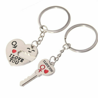 "Valentine's Day Couple Heart Key Chain Ring ""I Love You "" Romantic lover Gift"