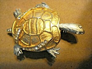 Vintage Gold and Silver Tones Turtle Brooch