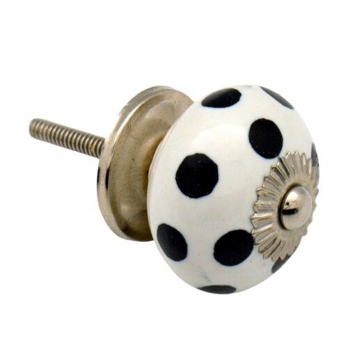 Ceramic Door Knob Cabinet Drawer Handle Polka Dot White // Black x1