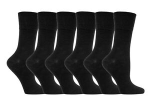 Kleidung & Accessoires Socken Gut Ausgebildete 6 Pairs Ladies Sockshop Diabetic Gentle Grip Socks 4-8uk 37-42eur Black