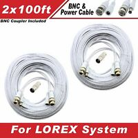 High Quality White 200ft Bnc Cable For 8 Ch Lorex Systems Lh-1896, Eco3