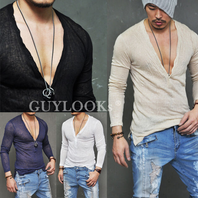 Breathable Mens Holiday See-through Wrinkle Linen Deep Button Vneck Knit Guylook