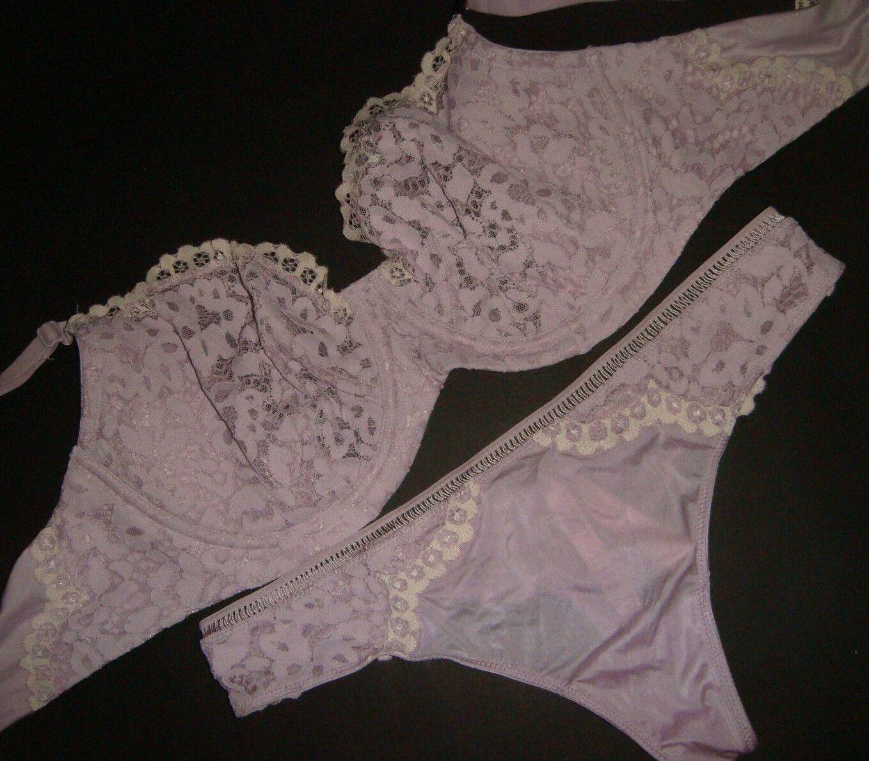 NWT Victoria's Secret unlined 36D,36DD BRA SET M thong Purple purplec Floral LACE