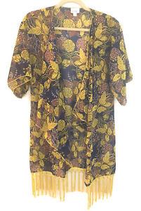 Lularoe-Shirley-S-Blu-Giallo-Floreale-Velato-Kimono-Cardigan-insabbiamento