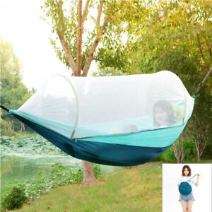 Portable Camping Hammock with Mosquito Net Carrying Case Outdoor Patio Use E3R1